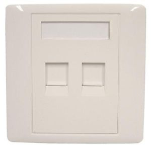 ASL DATAPRO 2 WAY SHUTTERED WHITE RJ45 OUTLET PLATE FOR KEYSTONE [P/N 04ASL8363]