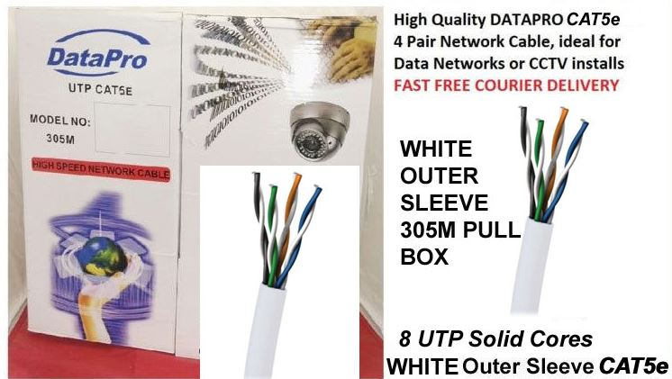 DATAPRO BOX OF 305M WHITE OUTER RJ45 UNSHEILDED NETWORK CABLE CAT5E CCA [P/N 04DTP4454]