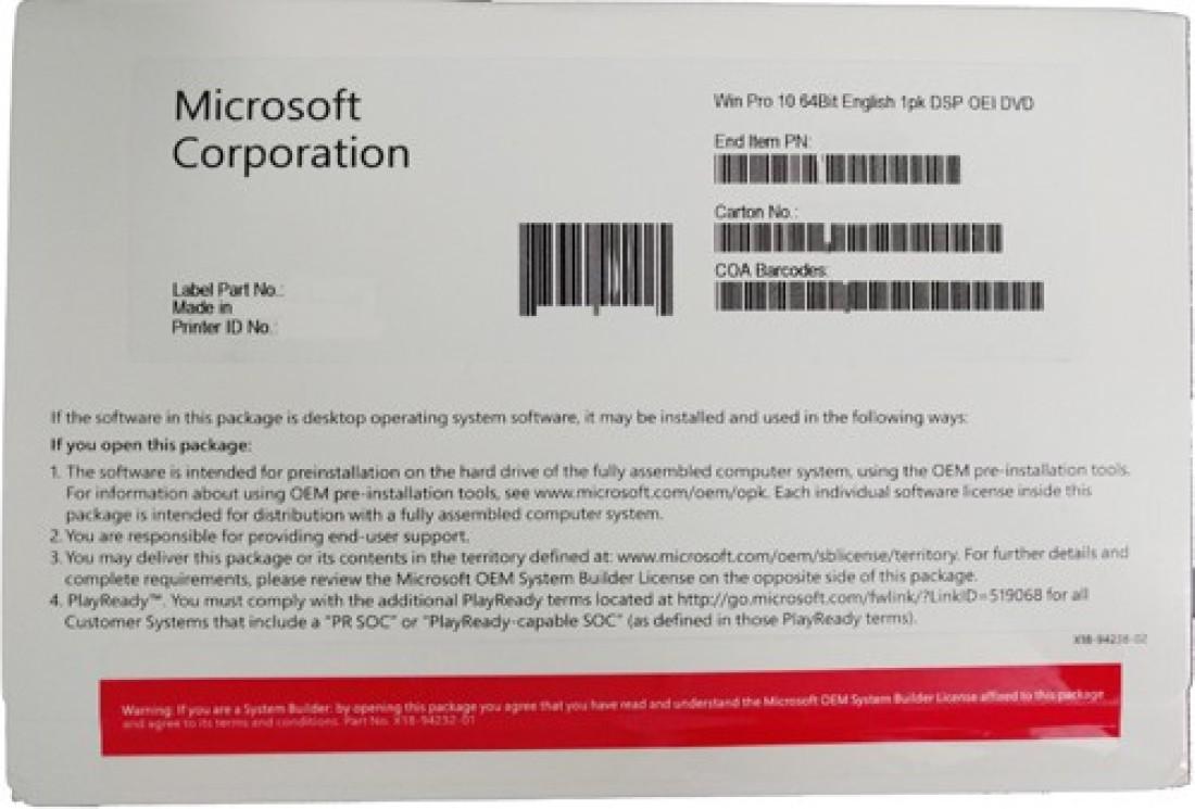 MICROSOFT WINDOWS 10 PRO 64-BIT DVD PROFESSIONAL DVD